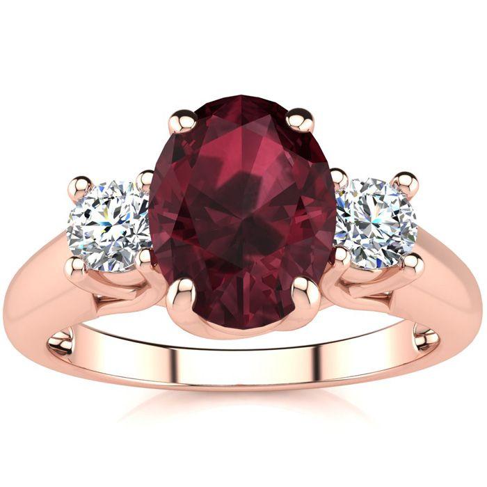 1 3/4 Carat Oval Shape Garnet & Two Diamond Ring in 14K Rose Gold