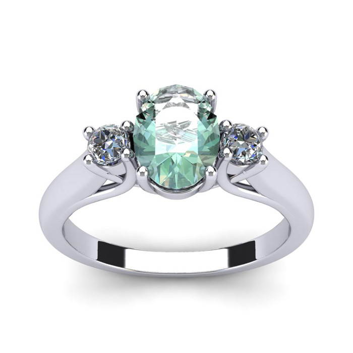 1.25 Carat Oval Shape Green Amethyst & Two Diamond Ring in 14K Wh