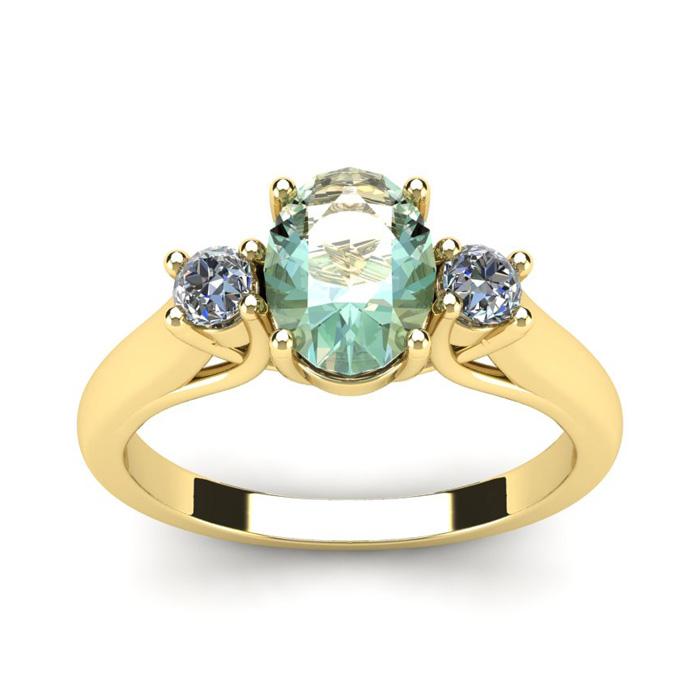 1.25 Carat Oval Shape Green Amethyst & Two Diamond Ring in 14K Ye