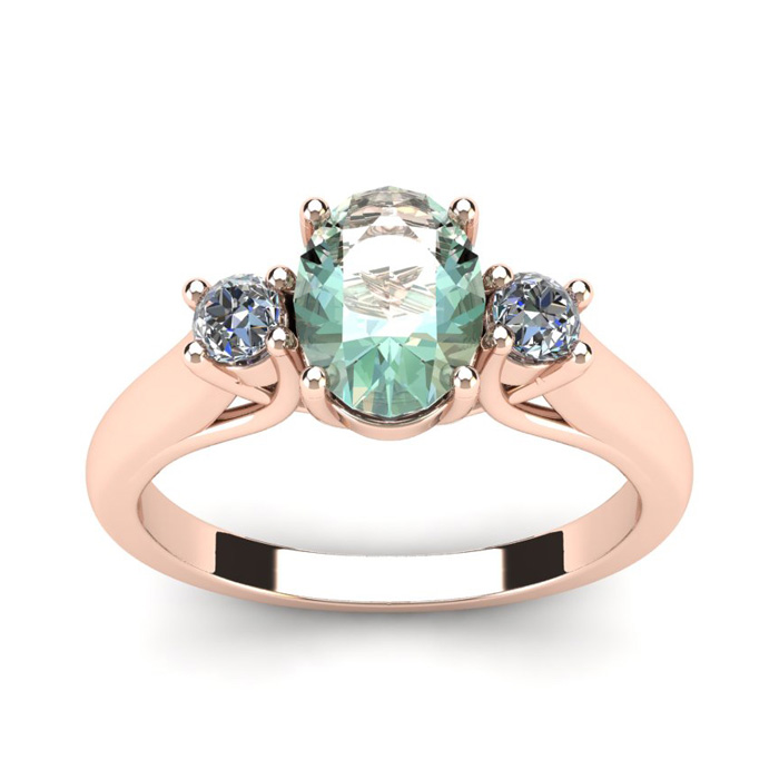 1.25 Carat Oval Shape Green Amethyst & Two Diamond Ring in 14K Ro
