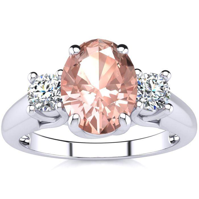 1 1/3 Carat Oval Shape Morganite & Two Diamond Ring in 14K White Gold (3.1 g), I/J by SuperJeweler
