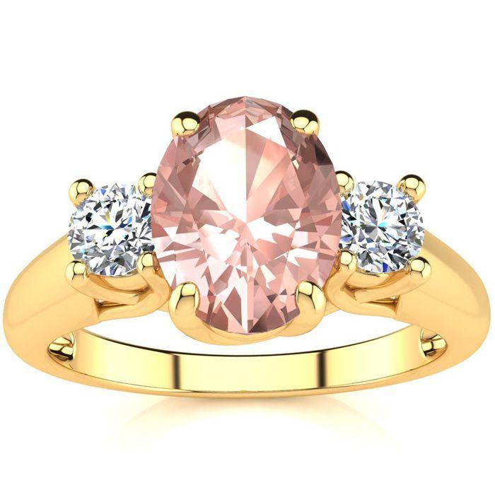 1 1/3 Carat Oval Shape Morganite & Two Diamond Ring in 14K Yellow