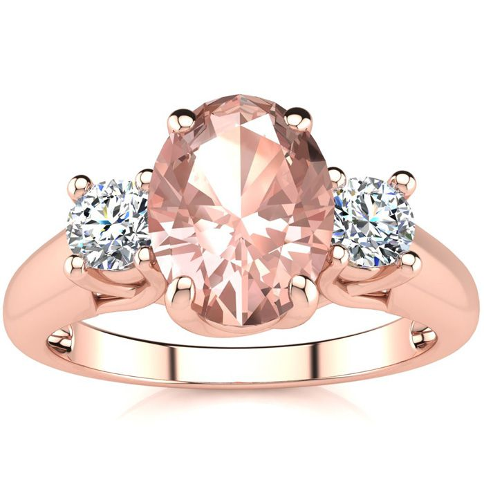 1 1/3 Carat Oval Shape Morganite & Two Diamond Ring in 14K Rose G