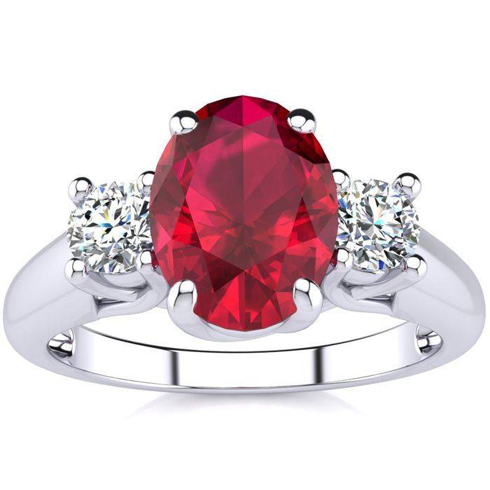 1 3/4 Carat Oval Shape Ruby & Two Diamond Ring in 14K White Gold