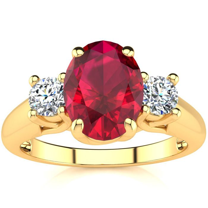 1 3/4 Carat Oval Shape Ruby & Two Diamond Ring in 14K Yellow Gold