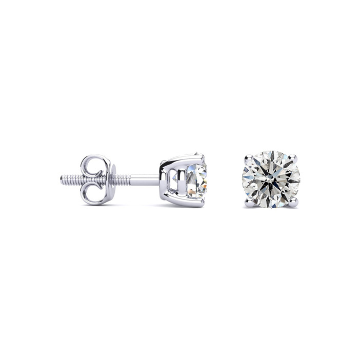 Platinum 2/3 Carat Diamond Stud Earrings, I/J Color, I1 Clarity b
