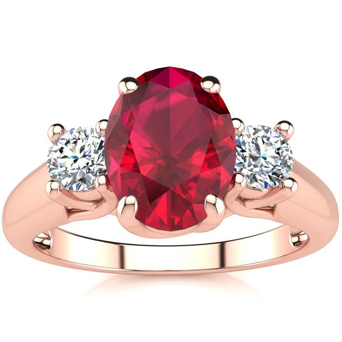 1 3/4 Carat Oval Shape Ruby & Two Diamond Ring in 14K Rose Gold (