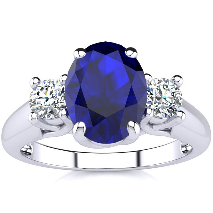 1 3/4 Carat Oval Shape Sapphire & Two Diamond Ring in 14K White G