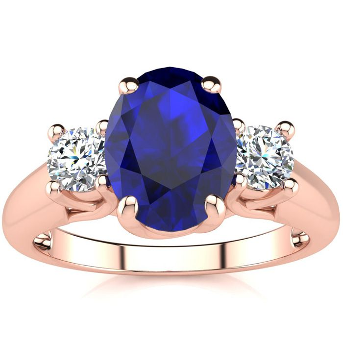 1 3/4 Carat Oval Shape Sapphire & Two Diamond Ring in 14K Rose Go