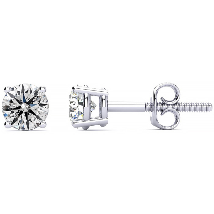 1 Carat Diamond Stud Earrings in 14K White Gold, F/G by SuperJeweler