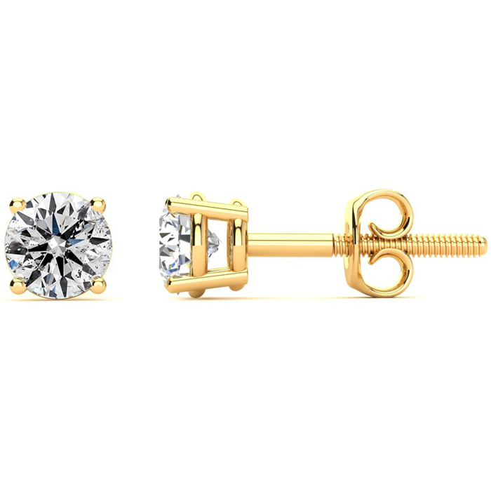 1 Carat Diamond Stud Earrings in 14K Yellow Gold, F/G by SuperJew