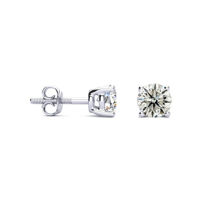 1 Carat Diamond Stud Earrings in 14K White Gold, I/J by SuperJewe