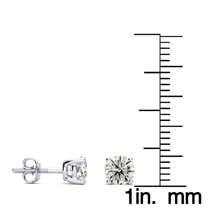 earrings carat in diamond macys gold stud white ct