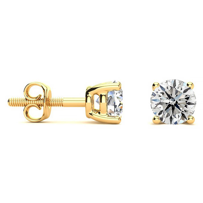 1 Carat Diamond Stud Earrings in 14K Yellow Gold, I/J by SuperJew