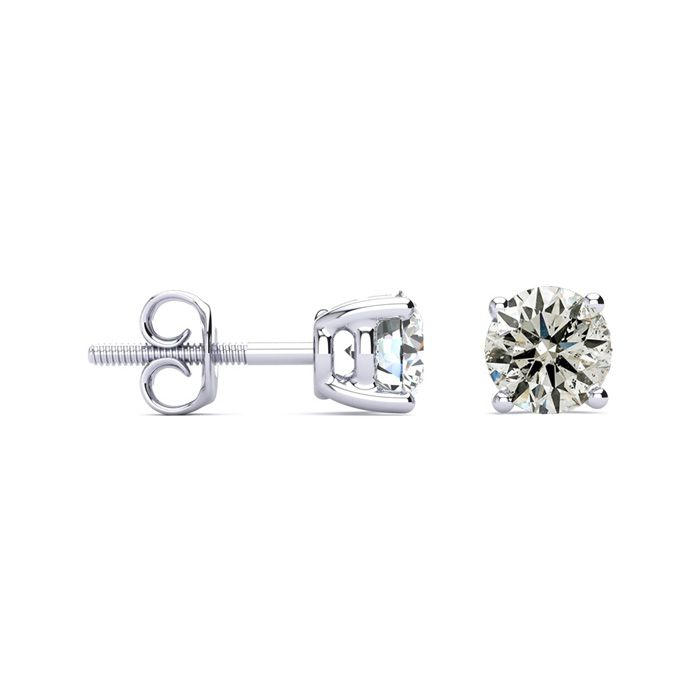 1.5 Carat Diamond Stud Earrings in 14K White Gold, I/J by SuperJe