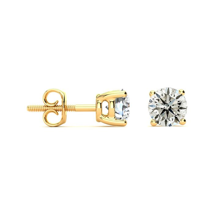 1.5 Carat Diamond Stud Earrings in 14K Yellow Gold, I/J by SuperJ