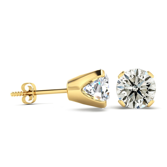 2 Carat Diamond Stud Earrings in 14K Yellow Gold (I-J Color, I2-I