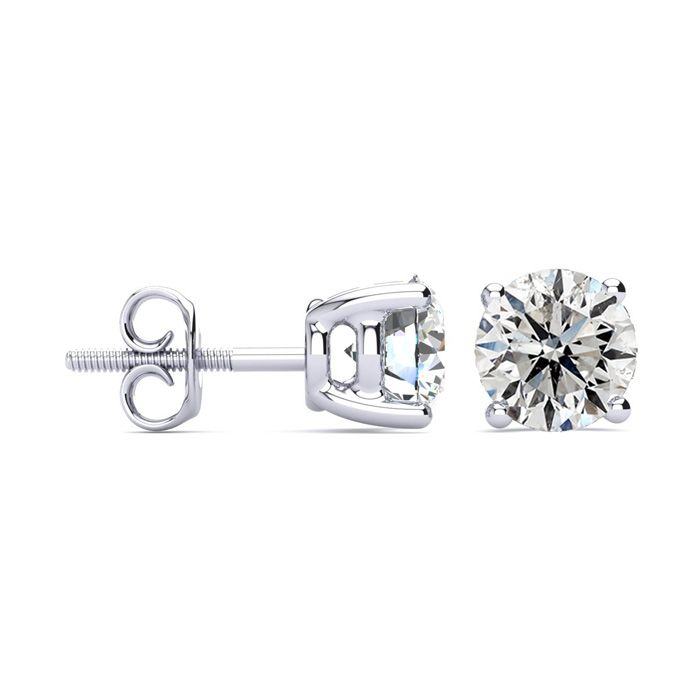 3 Carat Diamond Stud Earrings in 14K White Gold, I/J by SuperJewe