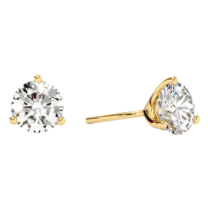 2 Carat Diamond Martini Stud Earrings in 14K Yellow Gold, I/J by