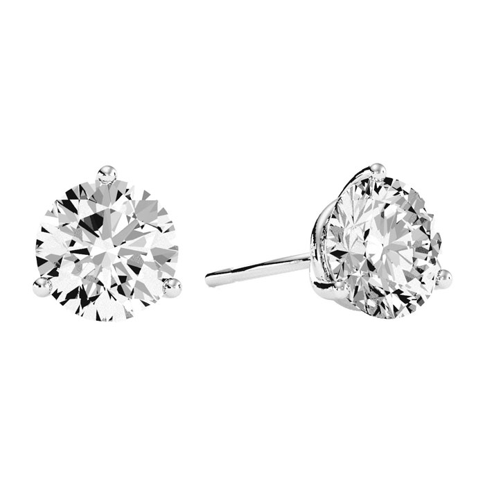 3 Carat Diamond Martini Stud Earrings in 14K White Gold, I/J by S
