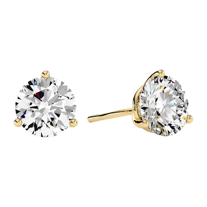 3 Carat Diamond Martini Stud Earrings in 14K Yellow Gold, I/J by