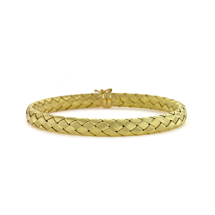 18K Yellow Gold 6.5mm Basket-Weave Bracelet by SuperJeweler