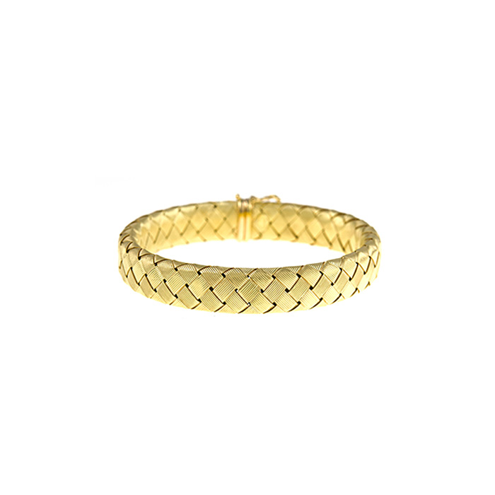 18K Yellow Gold 11.2mm 7.5 inch Basket-Weave Bracelet by SuperJew