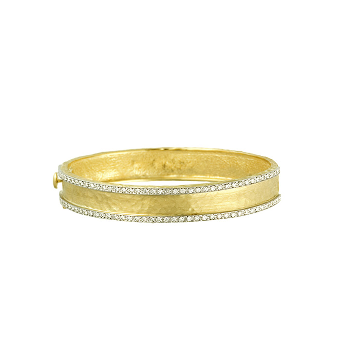 18K Yellow Gold 11.0mm Hammered Finish Bracelet w/ Diamonds by Su