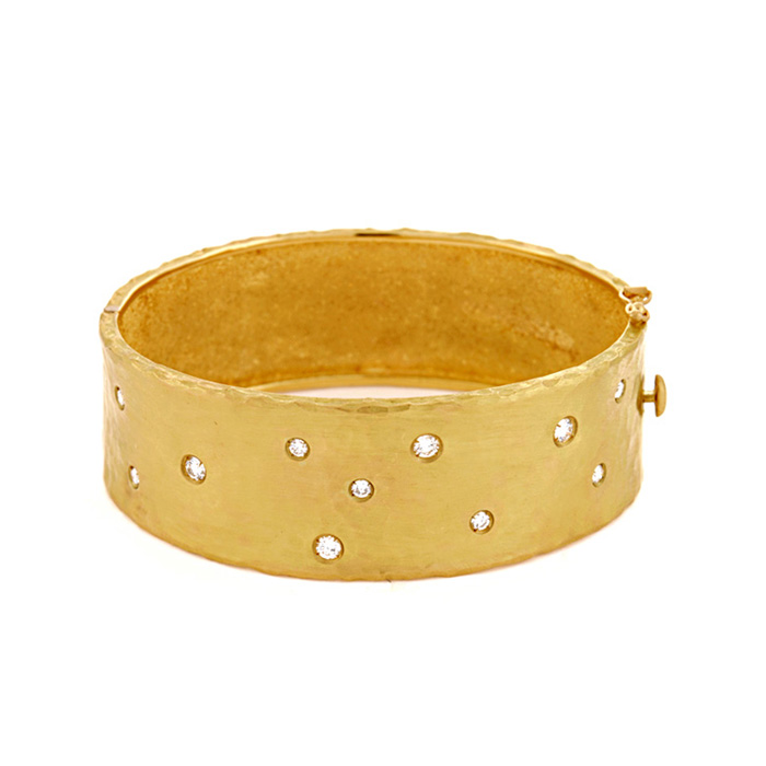 18K Yellow Gold 22.0mm Hammered Finish, Diamond Polka Dot Bracelet by SuperJeweler