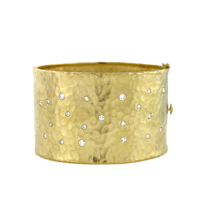 18K Yellow Gold 40.5mm Hammered Finish, Diamond Polka Dot Bracelet by SuperJeweler