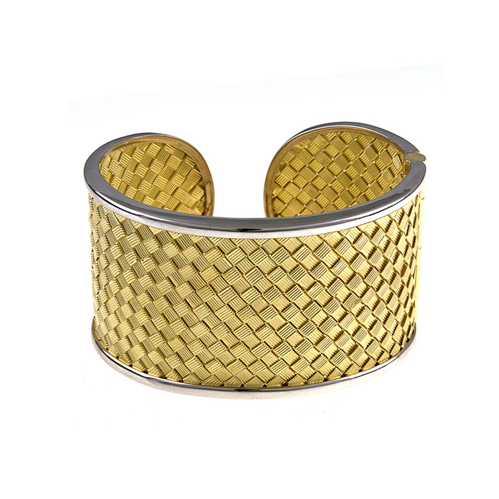 18K Yellow & White Gold 38.0mm Basket Weave Cuff Bracelet by Supe