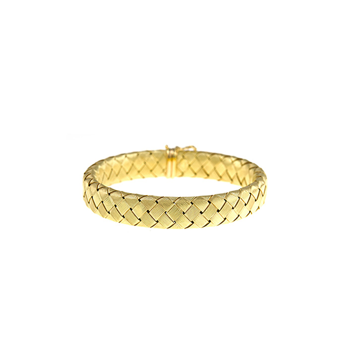 18K Yellow Gold 11.2mm 8 inch Basket-Weave Bracelet by SuperJewel