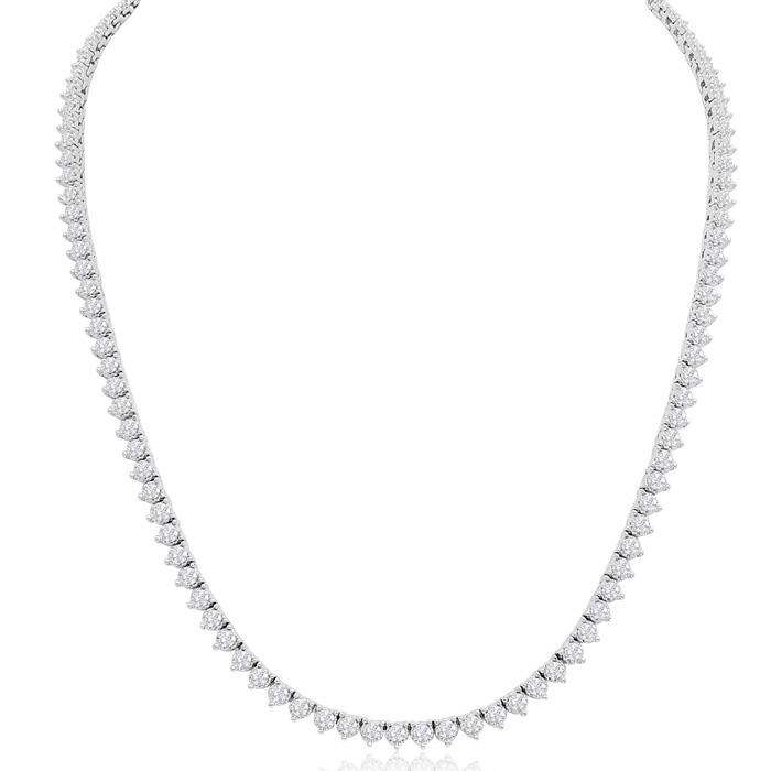 14K White Gold (27.9 g) 8.33 Carat Diamond Tennis Necklace, 17 In