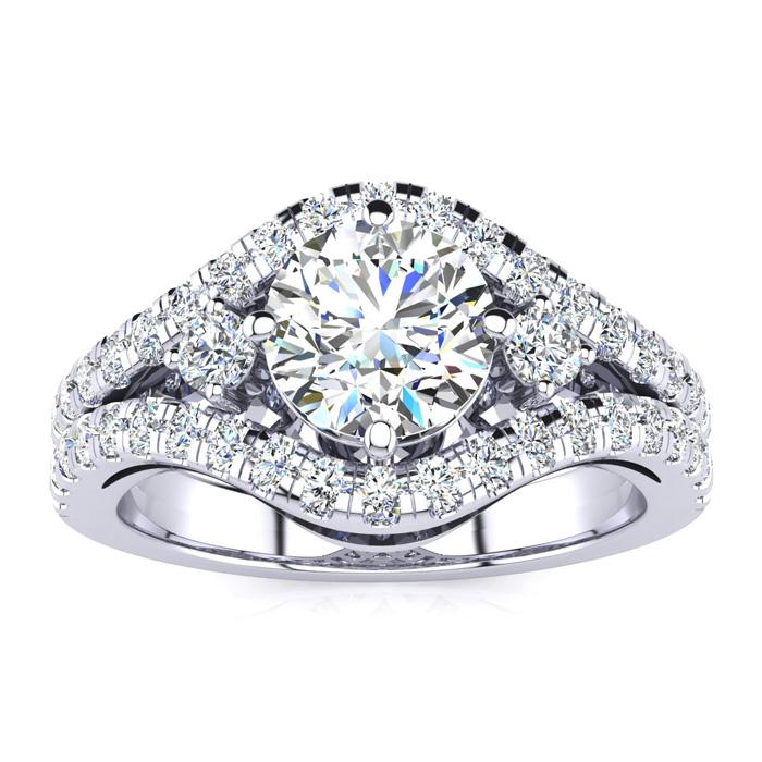 14K White Gold (7 g) 2 Carat Fancy Diamond Engagement Ring, w/ 1.