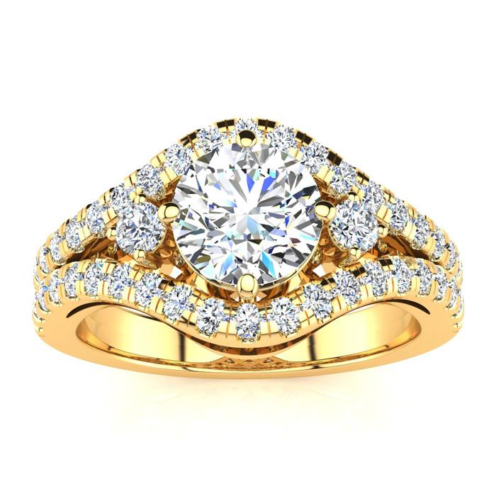 14K Yellow Gold (7 g) 2 Carat Fancy Diamond Engagement Ring, w/ 1.25 Carat Center (I-J, I1-I2 Clarity Enhanced) by SuperJeweler