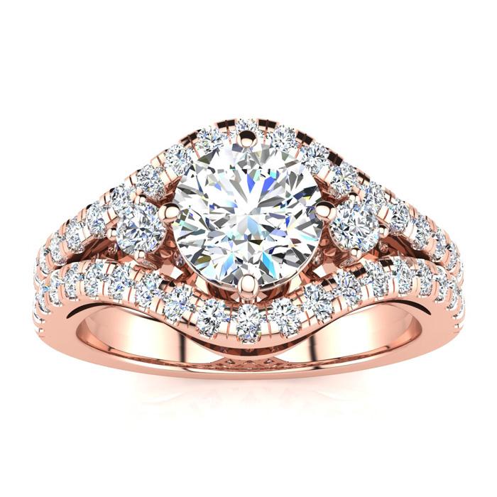 14K Rose Gold (7 g) 2 Carat Fancy Diamond Engagement Ring, w/ 1.2