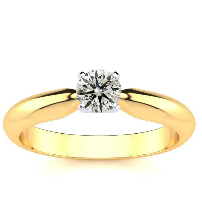 1/3 Carat Diamond Engagement Ring in 14k Yellow Gold (H-I, SI2-I1