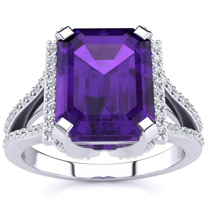 3 1/2 Carat Emerald Cut Amethyst and Halo Diamond Ring In 14 Karat White Gold