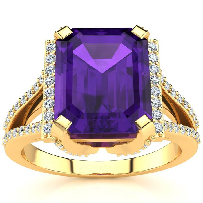 3 1/2 Carat Emerald Cut Amethyst and Halo Diamond Ring In 14 Karat Yellow Gold