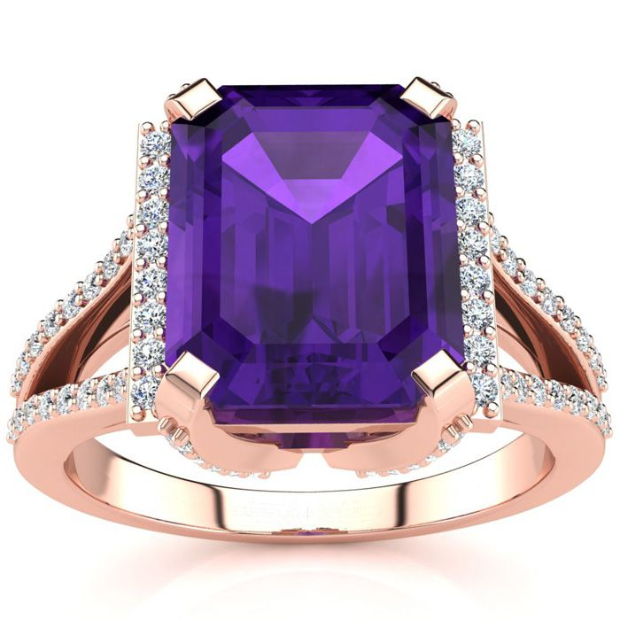 3 1/2 Carat Emerald Cut Amethyst and Halo Diamond Ring In 14 Karat Rose Gold