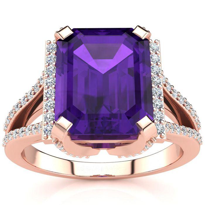 3 1/2 Carat Amethyst & Halo Diamond Ring in 14K Rose Gold (6 g),