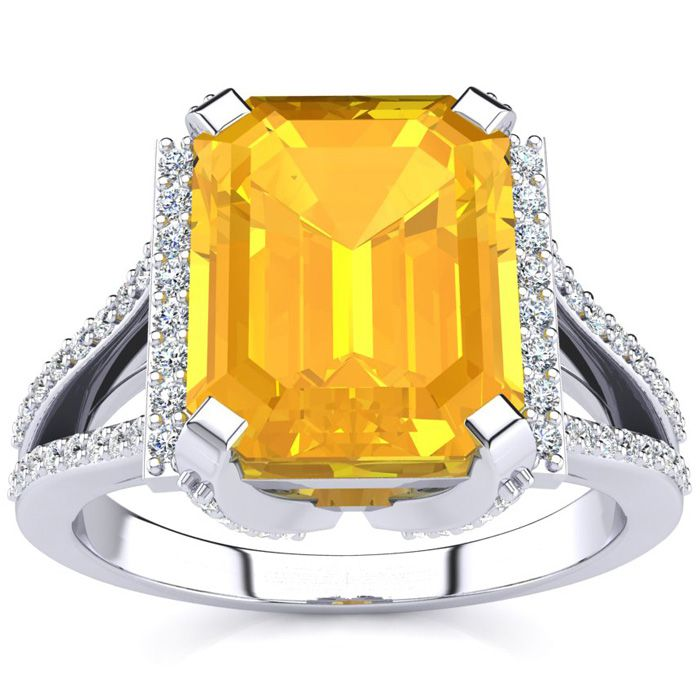 3 1/2 Carat Emerald Cut Citrine and Halo Diamond Ring In 14 Karat White Gold