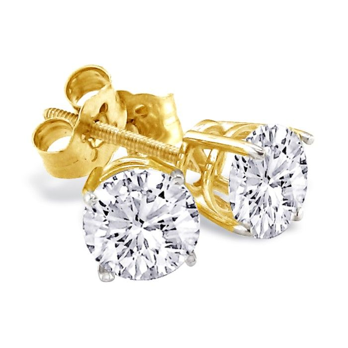 princess diamond stud p earrings gold carat yellow