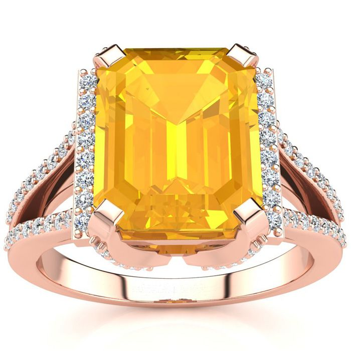 3 1/2 Carat Emerald Cut Citrine and Halo Diamond Ring In 14 Karat Rose Gold