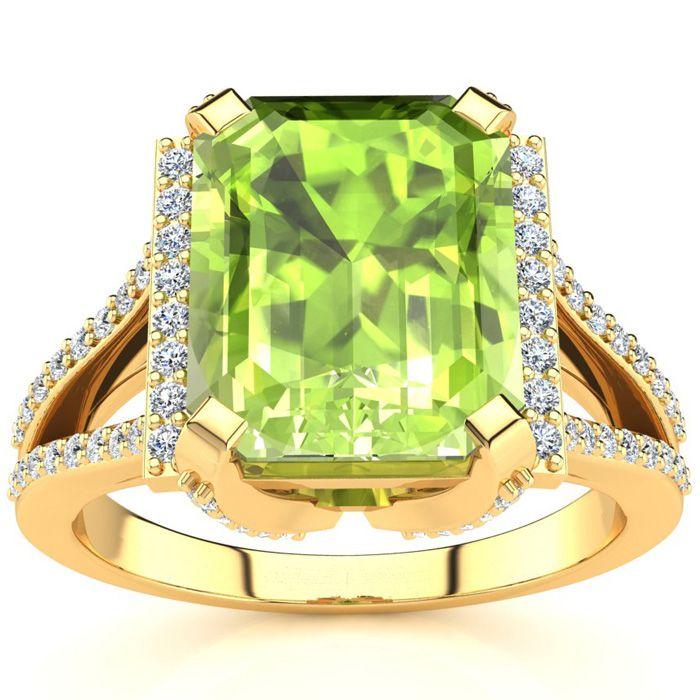 4 Carat Emerald Cut Peridot and Halo Diamond Ring In 14 Karat Yellow Gold