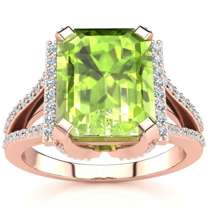 4 Carat Emerald Cut Peridot and Halo Diamond Ring In 14 Karat Rose Gold