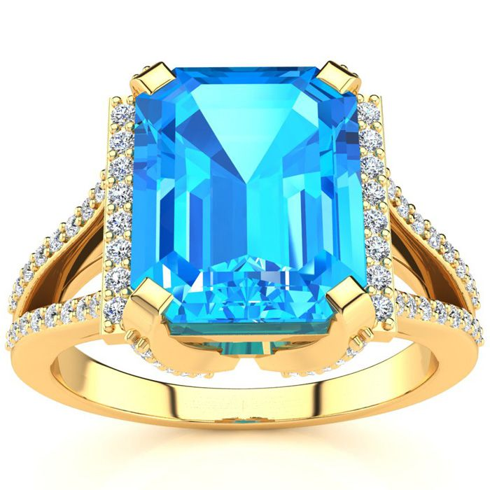 4 1/3 Carat Emerald Cut Blue Topaz and Halo Diamond Ring In 14 Karat Yellow Gold