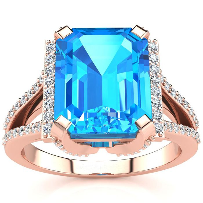 4 1/3 Carat Blue Topaz & Halo Diamond Ring in 14K Rose Gold (6 g)