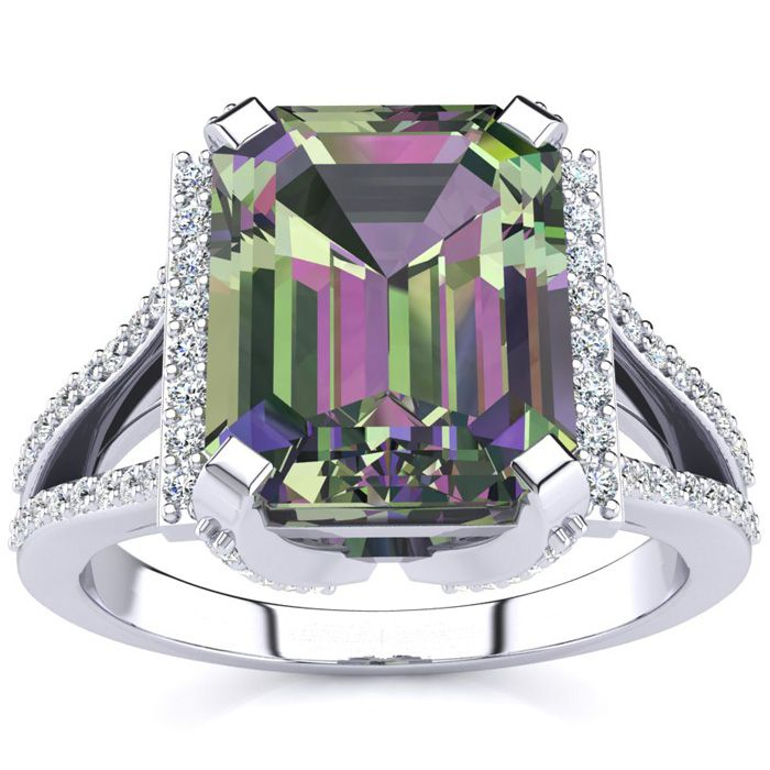 3 1/2 Carat Emerald Cut Mystic Topaz and Halo Diamond Ring In 14 Karat White Gold
