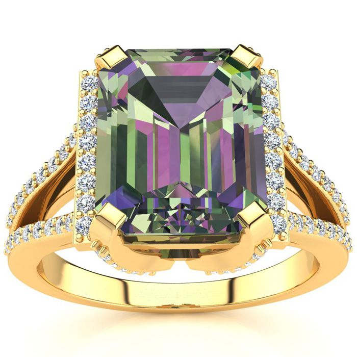 3 1/2 Carat Emerald Cut Mystic Topaz and Halo Diamond Ring In 14 Karat Yellow Gold
